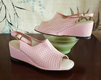 1960s Pink Wedges Petite Pumps Vintage Shoes Adjustable Slingback Womens size 4 Girls size 2
