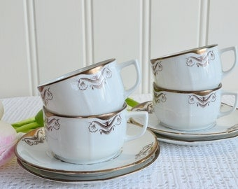 Tea and coffee cups , vintage Swedish chinaware , demitasse art deco porcelain ,  gold and brown, 1920's china, 8 piece set