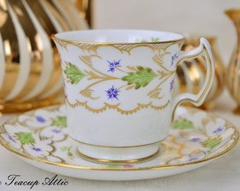 Royal Chelsea Teacup and Saucer Set Pattern 3796, English Bone China Tea Cup Set, Afternoon Tea Party, ca. 1940
