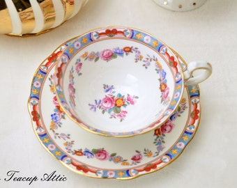 Aynsley Vintage  Teacup and Saucer Set, English Bone China Tea Cup With Floral Garland,  Replacement China, ca. 1934