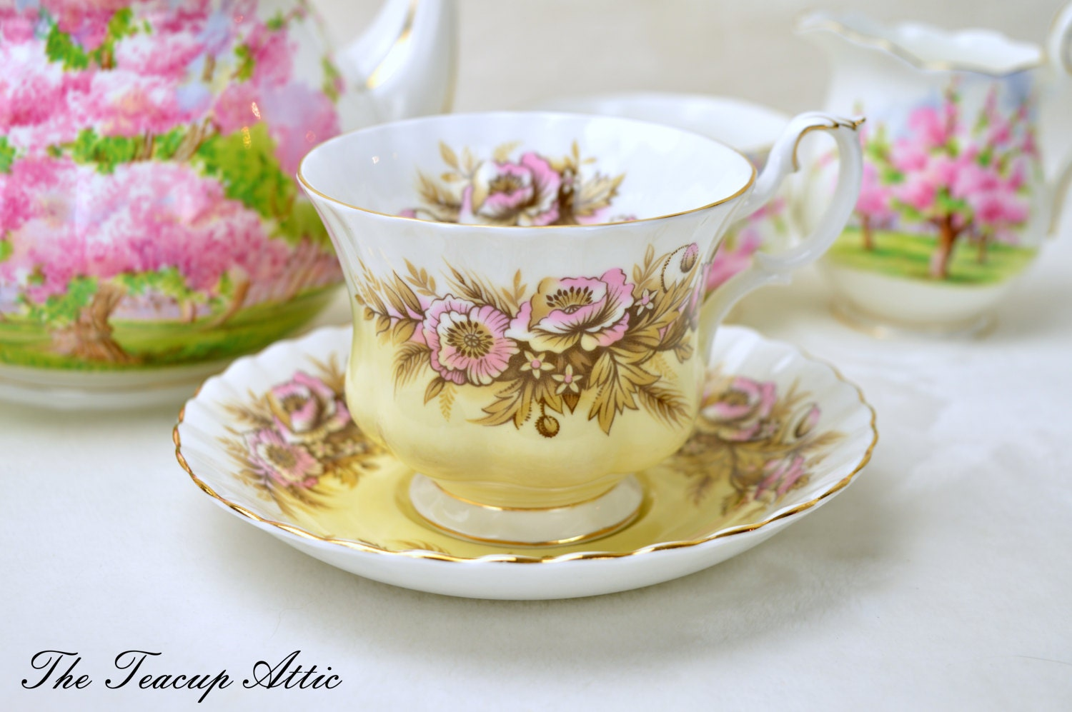 Royal Albert SONATA from the Melody Series Teacup and Saucer Set, English Bone China Tea Cup Set, Replacement China, Tea Party,  ca. 1960