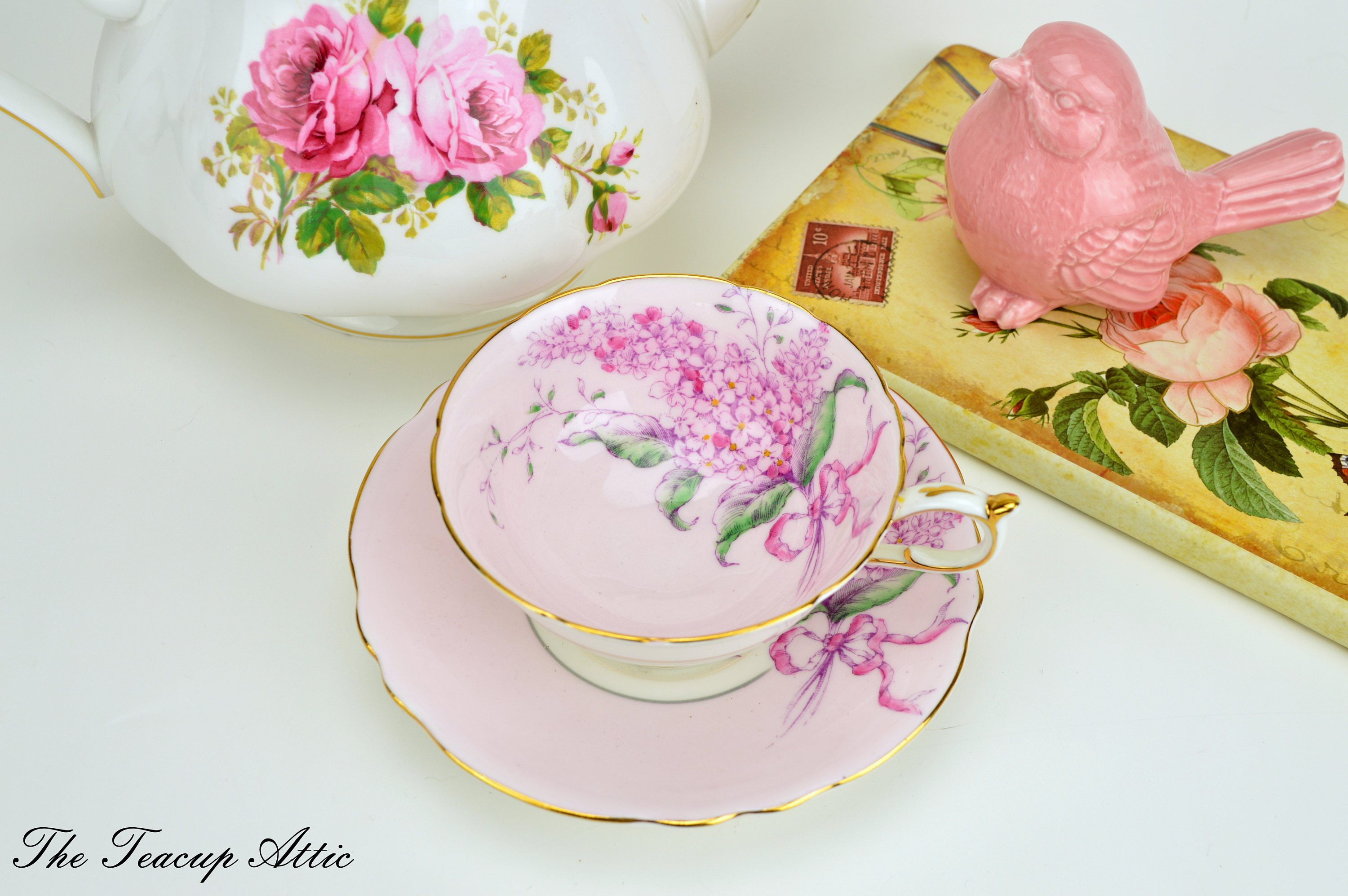 Paragon Pale Pink Wide Double Warrant Teacup With Lilac Flowers, Vintage English Bone China Tea Cup, Paragon Lilac, ca. 1952-1960