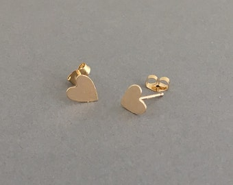 Small Heart Post Earrings Gold Fill, Rose Gold Fill, or Sterling Silver