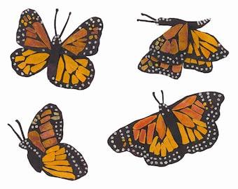 Batik Fabric Collage Art Migration Monarch Butterflies Archival Print