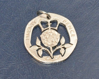 Crowned Tudor Rose. Cut coin pendant necklace charm 20 pence UK with stainless steel jumpring Coin cut jewelry All handmade