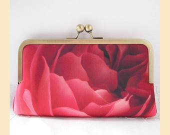 Clutch bag, handmade with red rose detail digital print and red interior, evening bag with antique brass frame, optional personalisation