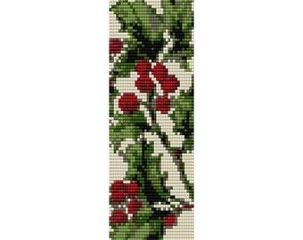 Holly Pattern Loom Bead Pattern, Bracelet Pattern, Bookmark Pattern, Seed Beading Pattern Miyuki Delica Size 11 Beads - PDF Instant Download