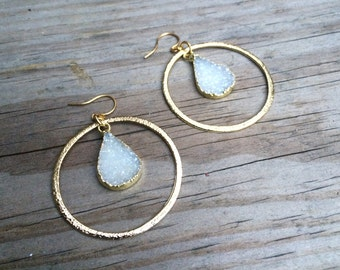 Sparkling Druzy & Gold Hoop Earrings
