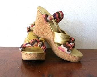 Missoni Shoes / Metallic Gold Sandals / Cork Platforms Sz 7.5 / 8