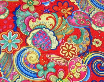 WF203  - 1 yard Vinyl Waterproof Fabric - Flower - spindrift - Red -