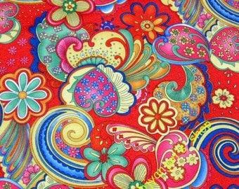 WF203  - 1 yard Vinyl Waterproof Fabric - Flower - spindrift - Red -