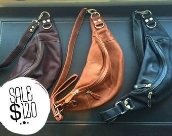 Cross shoulder leather bag / belt