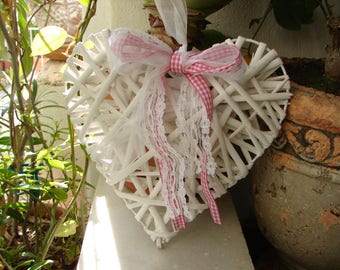 shabby chic heart,white painted, twig vine with ribbons, French style wedding or home decor