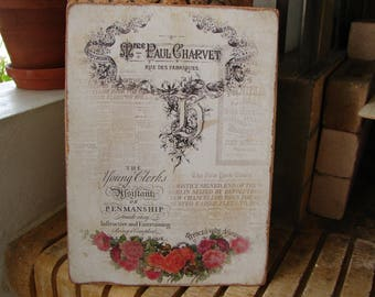 French vintage style, wooden sign with typography & roses image on old wooden panel, shabby chic