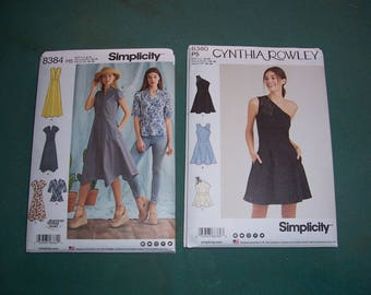 Simplicity 8384 or Simplicity 8380...New Misses' Summer Dress Patterns...Little Black Dress..Cynthia Rowley...New and Uncut..