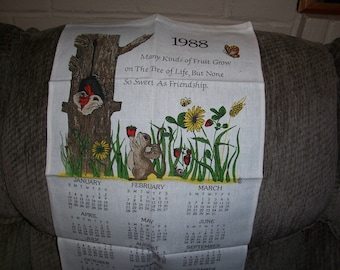 Vintage 1988 Calendar Tea Towel...Friendship...Good Colors...Beautiful...1980's Wall Art ...Like New.....
