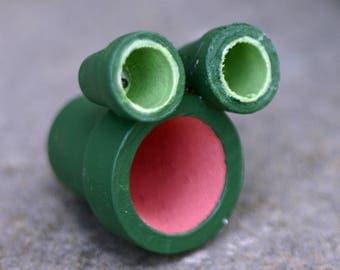 Little frog sculpture for terrarium, fairy garden, terra cotta pots, green and pink, miniature, garden, painted pots, tiny, small sculpture