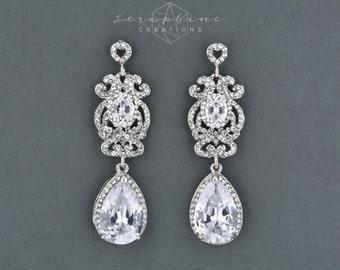 Vintage Style Earrings Wedding Jewelry Bridal Earrings Teardrop Cubic Zirconia Swarovski Rhinestone Victorian Long Vintage Ilaria K108B