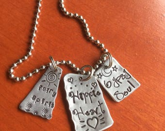 Fairy Spirit Hippie Heart Gypsy Soul Hand Made Hand Stamped Jewelry with words Pendant Quote Tag Charm Ornament Free Spirit Wander Wonder