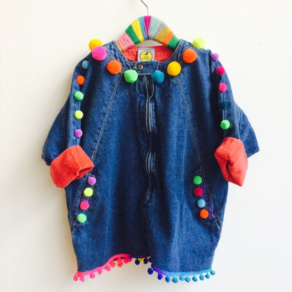 SHOW 6-7 Years Kids Poncho Jacket Top with Pom Pom trim in Denim Unisex