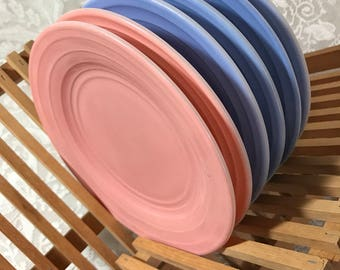 Hazel Atlas Moderntone Platonite Salad Pastel Plates Pink and Blue
