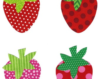 4 Iron on fabric strawberry appliques DIY