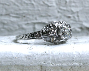 Gorgeous Vintage Art Deco Platinum Diamond Engagement Ring - 0.80ct.