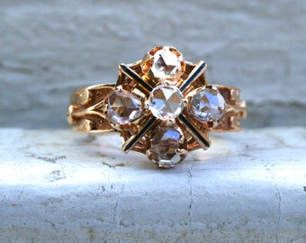 Gorgeous Antique Victorian 18K Yellow Gold Ring with Rose Cut Diamonds - 1.25ct.