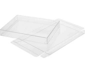 "25 Clear Greeting Card Boxes 7 1/8"" x 1 x 7 1/16"", Holds 7x7 Envelopes, Napkins, Etc"