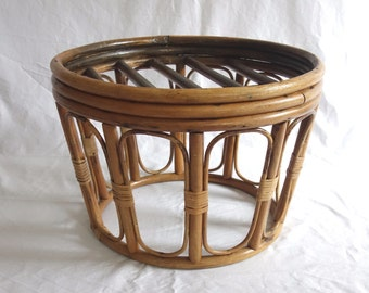Vintage Bamboo Side Table, Rattan End Table Ottoman, Boho Occasional Table, Cane Bentwood Wicker Foot Stool