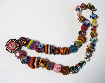 Bohemian Gypsy Recycled Yarn Beads  Necklace