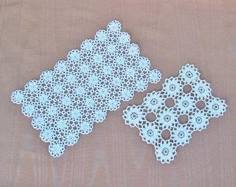 Vintage crocheted doilies, lot of 2 oblong doilies, lace doilies