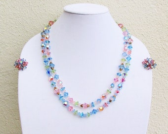 Vintage pastel crystal bead necklace and earrings, 2 strand necklace with blue, pink, and yellow faceted crystal beads and clip on earrings