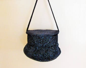Blue beaded box purse, 1940's handbag with navy carnival glass beads, octagonal top and pouch bottom evening bag by Furman