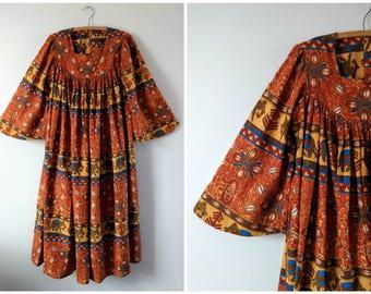 Vintage African print dress size medium
