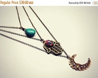 HOLIDAY SALE hamsa layer necklace, moon layer necklace, pink opal layer necklace, turquoise layer necklace, triple necklace
