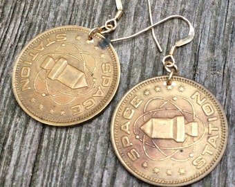 SPACE STATION token vintage medallion rocket earrings