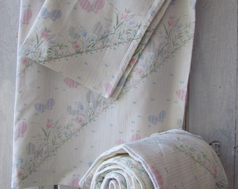 Vintage German Canopy for baby bed bumper pad duvet cover pillow cover light beige with pink and lavender butterflies