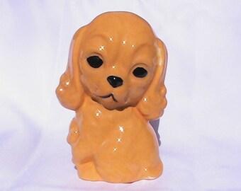 Vintage Kitschy Puppy ceramic figurine. Vintage yellow spaniel puppy statue.