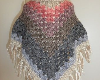Baby poncho hand crocheted granny poncho,super warm size 2-4 years