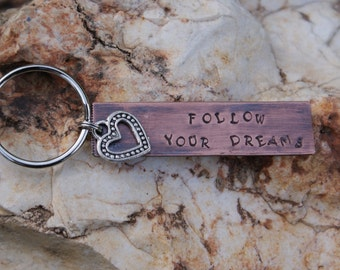 Personalized Hand Stamped Copper Key Chain with Open Silver Heart Charm