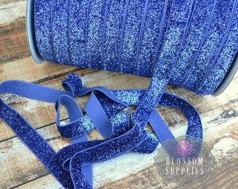 1, 3, or 5 Yards ROYAL BLUE Glitter 5/8 Inch Elastic - Baby Headband Elastic - Wholesale Supplies - USA - Bright Blue - 4th Of July