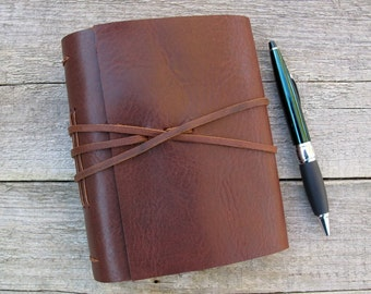 "Leather journal, ""Be happy for this moment. This moment is your life"" / Omar Khayyam quote / rustic brown leather journal by moon and hare"