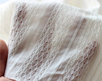 Pure White Jacquard Honeycomb hollow out yarn-dyed Strip Cotton Yarn fabric, Soft, Cotton Fabric 1/2 yard  (QT1080)