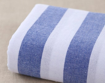 Plain Yarn-dyed,Cotton Linen Fabric for craft, Blue Stripe linen fabric, diy fabric,garment accessory 1/2 yard (QT1105)