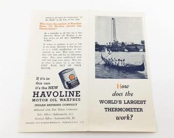 1933-34 Chicago World's Fair Century of Progress Vintage Art Deco Havoline Motor Oil Thermometer Advertising Brochure