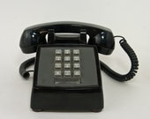 Vintage Western Electric Push Button Phone, Bell System Black Push Button Phone