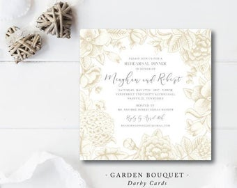 Garden Bouquet Printed Invitation | Rehearsal Dinner or Bridal Shower | Printed or Printable by Darby Cards