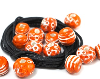 Orange beads,Ceramic beads,Pattern beads,Bead findings,Summer beads,Clay beads for jewelry,Unique beads,Jewelry supplies,Handcrafted beads