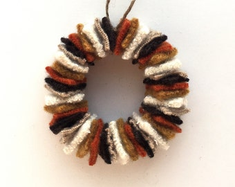 Fall Decor - Felted Wool Fall Wreath Ornament, Yellow/Brown/Orange/Cream - Fall Autumn Thanksgiving Decoration, Mini Wreath - Rustic Decor
